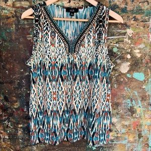AGB Turquoise Beaded Print Knit Top Size XL